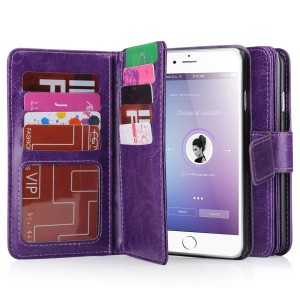 iPhone 6 Case, iPhone 6S Wallet Case, BENTOBEN Multi-Card Flip Folio PU Leather Wallet Bumper Case Hard Shell Skin Protective Cover for iPhone 6/6S 4.7 inch-Purple