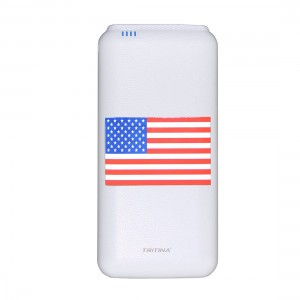 Tritina External Battery 20.000mah Fast Charge for Iphone, Samsung,input 2.1amp Dual USB Port Output 2.1a/1a,Top Grade  Power Bank White+Flag