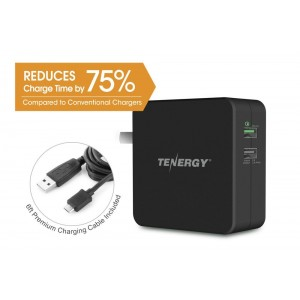 Tenergy 30W 2-Port Adaptive Fast USB Wall Charger Qualcomm Quick Charge 2.0 and Smart Detect - Galaxy S6 / Edge / Plus, Note 5 / 4, LG G4, HTC One M8 / M9, Nexus 6, iPad, iPhone and More (BLACK)