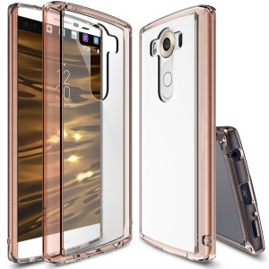 LG V10 Case, Ringke [Fusion] Crystal Clear PC Back TPU Bumper w/ Screen Protector [Drop Protection/Shock Absorption Technology] For LG V10 - Rose Gold Crystal