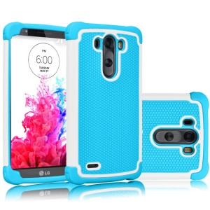 LG G3 Case, Tekcoo(TM) [Tmajor Series] [White/Blue] Shock Absorbing Hybrid Rubber Plastic Impact Defender Rugged Slim Hard Case Cover Shell Skin For LG G3 ATandT T-mobile Sprint Verizon Unlocked