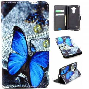 LG G Stylo Case,JanCalm [Perfect Fit][Kickstand] Pattern Premium PU Leather Wallet [Card/Cash Slots] Flip Cover for LG G Stylo / LG G4 Stylus *Including-ONE Crystal Pen (Lovely Butterfly)