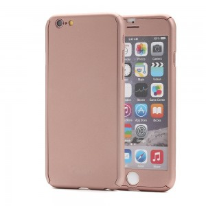 iPhone 6S Case, Pandawell? 360 Degree All-round Full Body Protection Hard Slim Case with Tempered Glass Screen Protector for Apple iPhone 6 / 6S 4.7 inch (Rose Gold)
