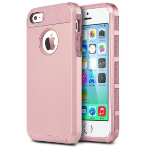 iPhone 5 Cases, iPhone 5S Case, iPhone SE Case,BENTOBEN Slim Fit Dual Layer Hard PC Soft TPU Hybrid Shock-Absorption and Anti-Scratch Cover for Apple iPhone 5 5S SE, Rose Gold