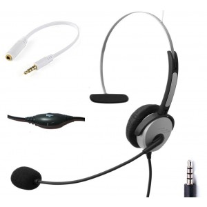 Voistek Wired Cell Phone Headset with Noise Canceling Boom Mic and Adjustable Headband for iPhone Samsung LG HTC Blackberry Huawei ZTE Mobile Phone and Smartphones with 3.5mm Headphone Jack (Mono H10DJ35)