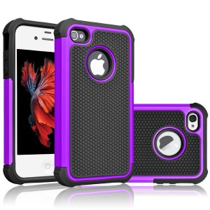 iPhone 4S Case, Tekcoo(TM) [Tmajor Series] iPhone 4 / 4S Case Shock Absorbing Hybrid Best Impact Defender Rugged Slim Grip Bumper Cover Shell w/ Plastic Outer and Rubber Silicone Inner [Purple/Black]