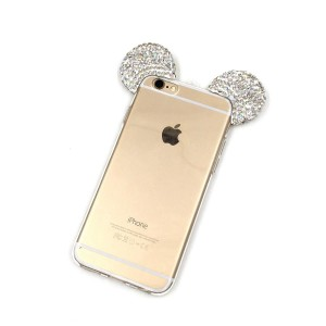 iPhone 6S Plus Case, MC Fashion Sparkly 3D Mickey Mouse Bling Bling Crystal Rhinestone Ears Clear TPU Rubber Case with Removable Strap for iPhone 6S Plus (2015) and iPhone 6 Plus (2014) (Bling-Clear)