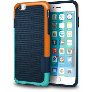 "iPhone 6s Plus Case, ImpactStrong Slim Fit Grip Case [Drop Protection][Shock proof] Lightweight TPU Cover for Apple iPhone 6 Plus and iPhone 6S Plus (5.5"") - Blue / Turquoise and Orange - BTO"