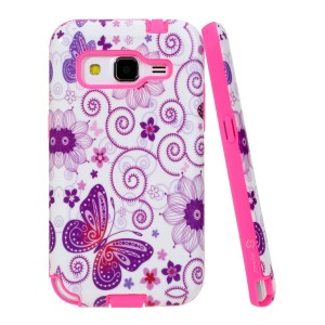 Core Prime Case, Style4U Galaxy Core Prime Butterfly Design Slim Fit Hybrid Armor Case for Samsung Galaxy Core Prime G360 with 1 Style4U Stylus [Butterfly Hot Pink]