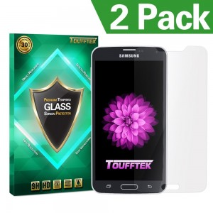 Galaxy S5 Screen Protector, Toufftek 2-Pack 0.2mm HD [Tempered Glass] Screen Protector for Samsung Galaxy S5 (TMS5A)