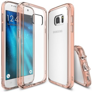 Galaxy S7 Case, Ringke [Fusion] Crystal Clear PC Back TPU Bumper [Drop Protection/Shock Absorption Technology][Attached Dust Cap] For Samsung Galaxy S7 - Rose Gold Crystal