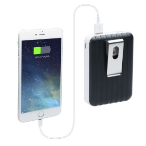 CTA Digital Hardside Luggage Style Travel Clip-On 8800 mAh External Battery Pack Dual USB Charger