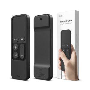 elago R1 Intelli Case for apple TV Remote [MAGNET TECHNOLOGY] [LANYARD INCLUDED] - Black