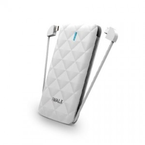 iWALK Duo Universal 3000mAh Rechargeable Backup Battery with LED Display and built-in MFI lightning / Micro-USB flexible cables (White)