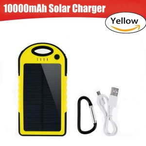 Solar Charger, 10000mAh Portable Solar Power Bank Charger with Flashlight, Waterproof Shockproof Dual USB Port Solar Battery Charger, for Cell Phone iPhone 6 6s Plus Samsung S5 S6 S7 Note 4 5(Yellow)