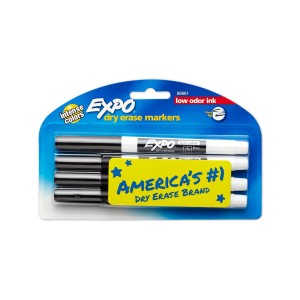 Expo Low-Odor Dry Erase Markers, Fine Point, 4-Pack, Black