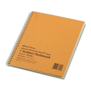 National Brand Brown Board Cover Notebook, Narrow, 1-Subject, Green Paper, 8.25 x 6.875 Inches, 80 Sheets (33004)