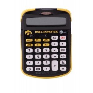 Collegiate Series 00508 UNIVERSITY OF IOWA Solar-Powered Calculator with School Logo and Colors