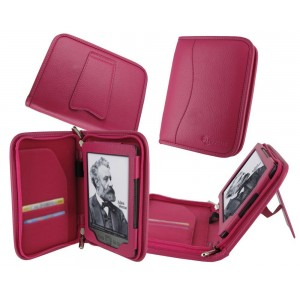 rooCASE Executive Leather Portfolio (Magenta) Case Cover with Portrait / Landscape Stand for Amazon Kindle 4 6-Inch Wi-FI (Latest Model Kindle 4)