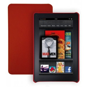 Tribeca Artisan Series Egyptian Leather Hard Shell Case for Kindle Fire, Red (does not fit Kindle Fire HD)