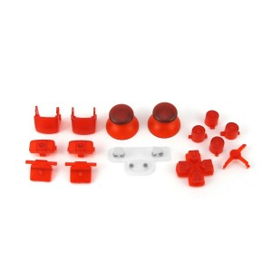 Console Customs PS3 Transparent Red Full Parts Set (Thumbsticks, Buttons, D-pad, Triggers, Start/Select) for Plays