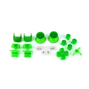 Console Customs PS3 Transparent Green Full Parts Set (Thumbsticks, Buttons, D-pad, Triggers, Start/Select) for Pla