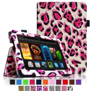 "Fintie Folio Case for Fire HDX 7 - Slim Fit Leather Standing Protective Cover with Auto Sleep/Wake (will only fit Kindle Fire HDX 7"" 2013), Leopard Magenta"