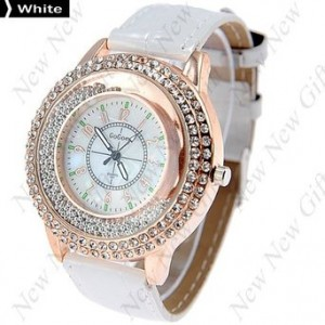 New New Gift New Arrival ~ Fashion Round Case Quartz Watch Wristwatch Timepiece with Rhinestones Decor for Lady