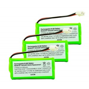 Axiom 3Pack Rechargeable Battery For EMPCPH515D, ERP295GRN, SJB2121, SM15320M, TEL0032, TELVT6031, UL133, TEL10213, 25255RE4