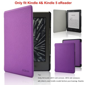 ACdream Kindle 5 and Kindle 4 Case - Ultra Slim Leather Cover Case for Kindle 4 and kindle 5 With Magnet Closure(Only Fit Kindle 2011 and 2012 old version); Not fit kindle 7th gen 2014 Version Or Paperwhite/ kindle touch), Purple