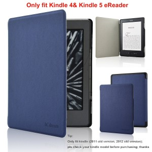 ACdream Kindle 5 and Kindle 4 Case - Ultra Slim Leather Cover Case for Kindle 4 and kindle 5 With Magnet Closure(Only Fit Kindle 2011 and 2012 old version); Not fit kindle 7th gen 2014 Version Or Paperwhite/ kindle touch), Dark Blue