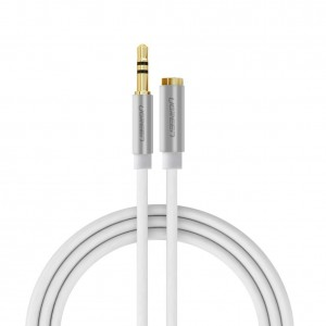 Ugreen 3.5mm Male to Female Extension Stereo Auxiliary Cable Male to Female Gold Plated Compatible for iPhone, iPad or Smartphones, Tablets, Media Players (15FT, White)