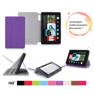 "[Corner Protection] Fire HD 6 (2014 Edition) case, FYY Classic Slim Fit Folio PU Leather Case for Fire HD 6, 6"" HD Display 2014 Purple (With Auto Wake/Sleep Feature)"