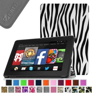 Fintie SmartShell Case for Fire HD 7 Tablet (2014 Oct Release) - Ultra Slim Lightweight with Auto Sleep / Wake Feature (will only fit Fire HD 7 4th Generation 2014 model), Zebra