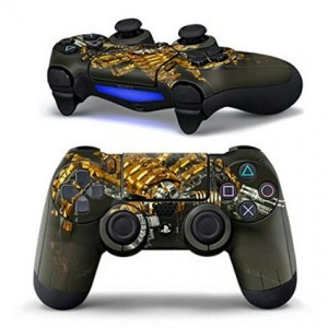 Mod Freakz Sci Fi and Fantasy Pair of Vinyl Decal Controller Sticker Skins for PS4 (Gold Scorpion Desert Robo