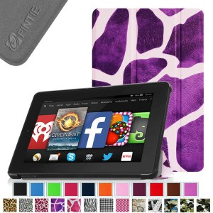 Fintie SmartShell Case for Fire HD 7 Tablet (2014 Oct Release) - Ultra Slim Lightweight with Auto Sleep / Wake Feature (will only fit Fire HD 7 4th Generation 2014 model), Giraffe Purple