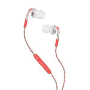 Skullcandy S2FXHX-476 Bombshell Women's In-Ear Headphones with Earbud, Mic and Remote, Mash-Up/Clear/Coral