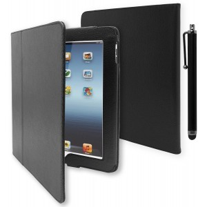 iPad 1 Case, Bastex Folio Synthetic Leather Case Cover with Built-in Stand for Apple iPad 1 1st Generation - Black[Includes Stylus]