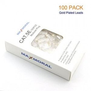 Maxmoral 100-Pack of Gold Plated Cat5e RJ45 Modular Connectors for Stranded Cat5e Cable