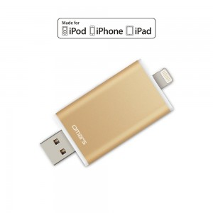 Omars 32GB USB Flash Drive with Lightning Connector, Gold