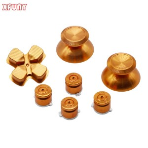 XFUNY(TM) Metal Bullet Buttons ABXY Buttons + Thumbsticks Thumb Grip and Chrome D-pad for Sony PS4 DualShock 4 Controller Mod Kit - Gold