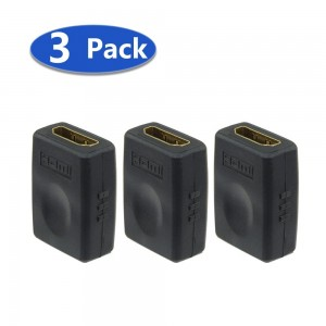 VCE (3 PACK) HDMI Female to Female Coupler Gold Plated High Speed HDMI Female Adaptor