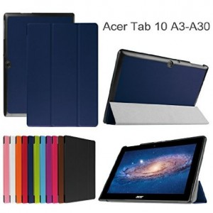 """Acer Iconia Tab 10 A3-A30 Slim Shell Case,Mama Mouth Ultra Slim Lightweight 3-folding PU Leather Standing Cover For 10.1"""" Acer Iconia Tab 10 A3-A30 Android Tablet,Dark Blue"""