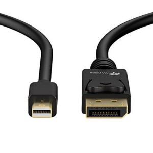 Mini DP to DP Cable, Rankie 6FT Gold Plated Mini DisplayPort to DisplayPort Cable 4K Resolution Ready (Black) - R1105