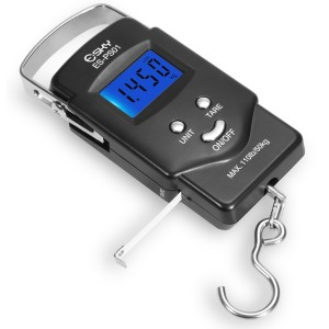 [Backlit LCD Display]Dr.Meter ES-PS01 110lb/50kg Electronic Balance Digital Fishing Postal Hanging Hook Scale with Measuring Tape, 2 AAA Batteries Included