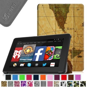 Fintie SmartShell Case for Fire HD 7 Tablet (2014 Oct Release) - Ultra Slim Lightweight with Auto Sleep / Wake Feature (will only fit Fire HD 7 4th Generation 2014 model), Map Brown