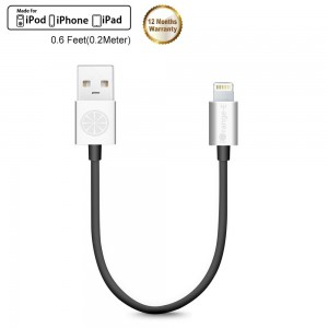 iPhone 6S Cable, iOrange-E Apple Certified 8 inch Short Lightning Cable USB iPhone Charger Cord for iPhone 7 7plus 6 6S Plus 5S 5C 5, iPad Air, iPad Pro, iPad Mini 4, iPod 5 Nano 7, Black