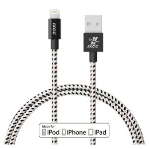 iXCC Ascend Series 4ft Nylon Braided Apple MFi Certified Lightning 8pin to USB Charge and Sync Cable for iPhone 7/6/6s/Plus/5/SE/iPad Mini/Air/Pro - Black