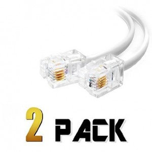 shoponlinetoday (2 Pack) 6 Inch Short Telephone Cable Rj11 Male to Male, 6p4c Phone Line Cord