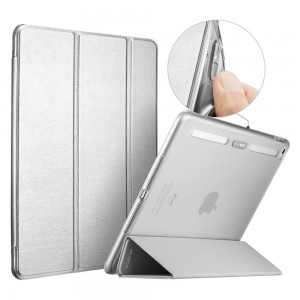 ESR-31001020103018-iPad Air 2 Case, Smart Cover Case with Soft TPU Bumper and Auto Wake/Sleep Function, Metallic Silver